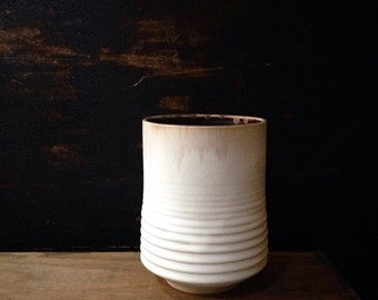 Ships now- white ceramic jar utensil spoon holder white ceramics vases planter mid century modern white