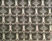 Vintage Decorator Fabric Black Print - Frank Lloyd Wright Style