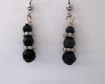 Stacked Jet Crystal Earrings Handmade