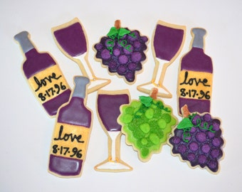 WINE THEME assorted decorated cookies. Wine bottle, glass, grapes, anniversary, birthday, party, fundraiser, benefit,