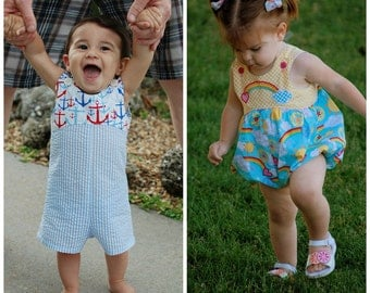 Baby Romper or Bubble Sewing Pattern - Long or Short Romper Pattern - Jon Jon Pattern