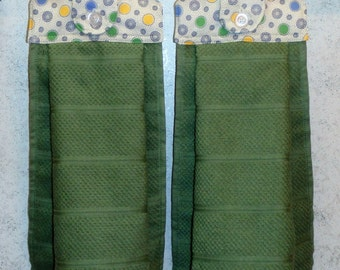Hanging Cloth Top Kitchen Hand Towels - Retro Polka Dot Print, Larger Sage Green Towels - Set of 2