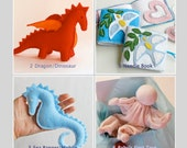 Sewing Projects from Handwork Studio - PDF Instructions: Babys First Doll, Dragon, Unicorn, Felt Ball, Denim Bird, Sea Banner, Tree, Mask ..