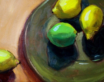 Lemon Lime Still Life Oil Painting, Original 6x8 Canvas, Small Kitchen Wall Decor, Green Yellow, Tropical Fruit, Citrus Fruit Plate