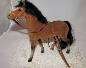 Vintage Brown Flocked Plastic Toy Horse with Black Mane and Tail by HF Co., 70s, felt, bridle, equine, animal, collectible