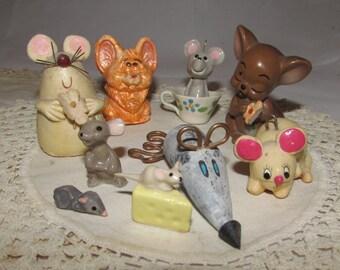 Lot of NINE Vintage Mice figurines, handmade and production made,  home decor, decorative, mouse, one Josef original
