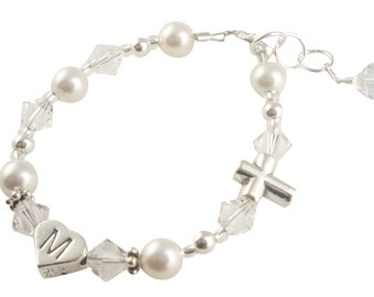 White pearl & opal Baptism Christening Bracelet, First Communion Jewelry bracelet - custom initial silver sterling