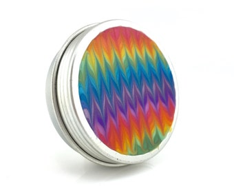 Medium Rainbow Treasure Box - Rainbow Zig Zag Tin  - Metal Jewelry Box - Screw Top Box - Round Pill Box - Handmade - #141 - Ready to Ship