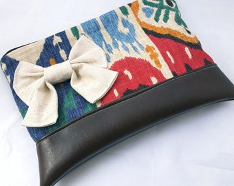 Large handmade twill canvas ikat bow clutch purse with vegan leather zippered pouch/gifts for her/ gifts under 25