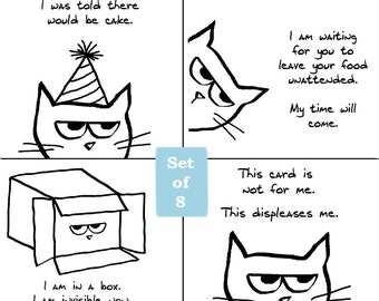 Angry Cat 1 -Funny Greeting Cards for Cat Lovers - Set of 8