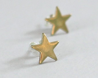 Tiny Star Post Earrings, Brass Star Earrings, Sterling Silver Post Earrings, Small Star Earring Studs, Girlfriend Gift