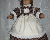 Colonial Dress, Cap and Apron  for American Girl Doll with Accessories