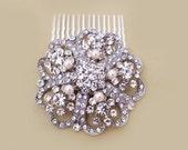 Bridal Crystal Pearl Hair Comb, Art Deco Wedding Hair Comb, Vintage Bridal Hair Accessory, Blush, Ivory, White Rhinestone Headpiece, CYNTHIA