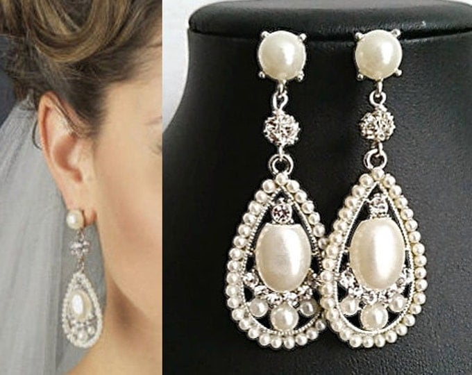 Bridal Drop Earrings for for Great Gatsby Style Weddings