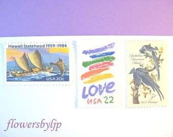 Love Hawaii Postage Stamps, Hawaiian Boat, Rainbow Love, Blue Jays, Mail 10 Cards, Party Invites, RSVPs 1 oz, 47 cents nautical love postage