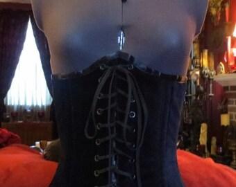 SALE Gothic Steampunk Black Velvet Lace Front Underbust Corset Sz 23