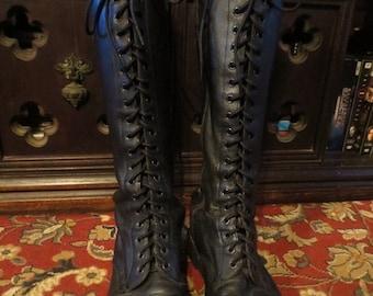 SALE Doc Marten Leather Black Military Combat 20 Eye Knee Boots U.K. 8