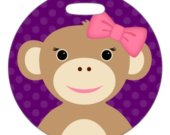 Luggage Tag - Monkey with Bow - Round Large Plastic Bag Tag
