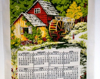 Vintage 1974 Linen Calendar Towel - Wall Hanging - Waterwheel, Millpond, and Fishing Boy