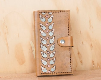 iPhone 6 Plus Case Wallet Leather - Petal pattern with modern leaves in pink, sage and antique brown   - iPhone 6 and iPhone 6 plus