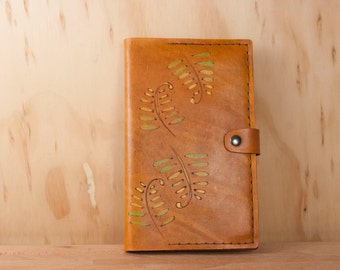 Leather Journal - Moleskine Journal Cover in the Rowan pattern with ferns - Refillable Notebook in antique tan and green