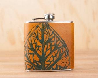 Leather Flask - Handmade Hip Flask in the Leaf Pattern with hand-printed leaf - 6oz Size - Groomsman Flask - Wedding Flask
