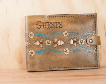 Guest Book -  Wedding guest book - Leather with bees and flowers - Antique brown leather with yellow and gold