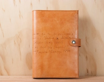 Leather Journal - Journal - Personalized Journal - Custom Journal in the Smokey pattern with inscription - Leather in Antique Tan