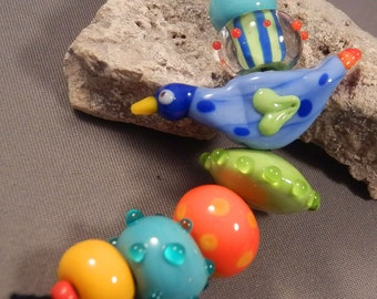 Handmade lampwork beads by Monaslampwork - Summer Bird II - Handmade Lampwork Beads by Mona Sullivan Colorful Organic Bohemian Gypsy Tribal