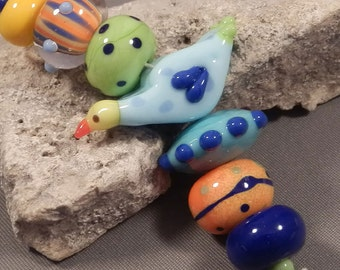 Handmade lampwork beads by Monaslampwork - Bird in the Middle - Handmade Lampwork Beads by Mona Sullivan Colorful Organic Bohemian Gypsy