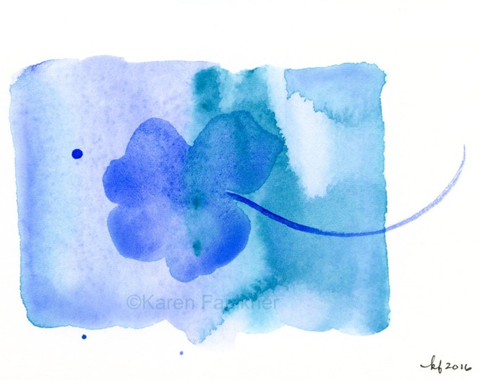 """Original watercolor abstract flower painting in ultramarine blue and turquoise: """"Floating"""""""