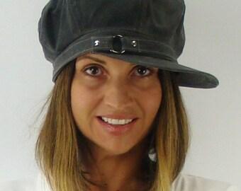 OVERSIZED NEWSBOY 8-Panel Handmade Cap Driving Cap for Men or Women in Ashen Grey Medium Weight Waxed Canvas