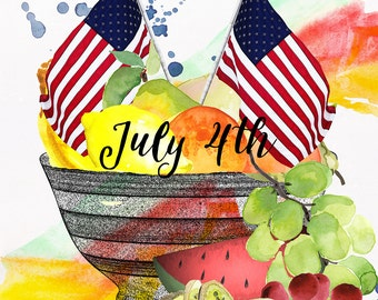 July 4th - Wall Art - Table Art - 8 X 10 inches - Printable - Download, print and cut
