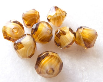 Vintage West German Faceted Amber Cream Givre Bicone Glass Beads - 12mm - Lot of 8