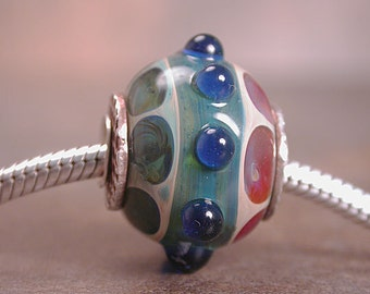 European Charm Bead Silver Cored and Capped OOAK Boro Glass Divine Spark Designs