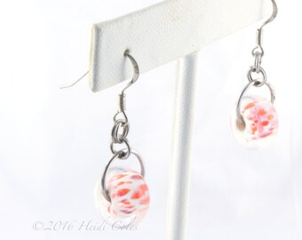 147 White Base Orange/Red Earrings