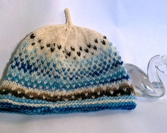 Handspun toddler hat, Blue Brown to White. A soft wool and angora hat to keep your precious one warm. OOAK
