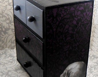 Skull and Raven Purple Gray Black Stash Jewelry Box