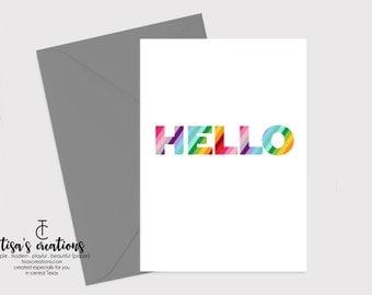 Rainbow Hello Card