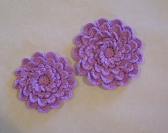 Crocheted Lavender Layered Mum Flower Appliques Set of 2