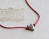 Silver heart necklace - artisan silver heart on red silk cord - sterling silver & silk necklace