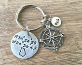 Longitude Latitude Keychain, GPS coordinates keychain, pewter keychain, anniversary gift, wedding gift, compass charm, optional initial disc