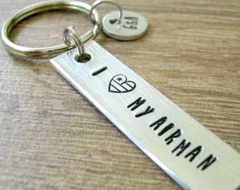 I Love My Airman Keychain, Air Force Keychain, Air Force Keychain, Pilot's wife Keychain, Military keychain, initial disc, optional backside