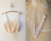 Art Deco 1920s Lace/Silk Satin Camisole/Bra With Silk Floral French Ribbonwork Applique Boudoir Lingerie