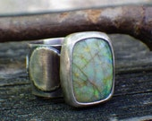 Green and yellow opal sterling silver ring size 6.25