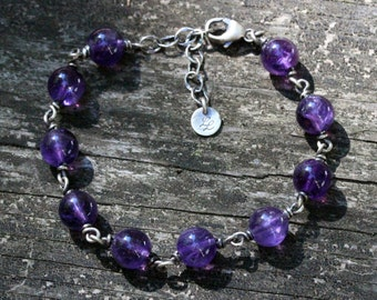 Amethyst sterling silver beaded bracelet