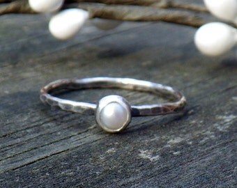 Dainty Pearl Ring ... June Birthstone Ring 4mm fresh water pearl sterling silver stacking ring gemstone ring