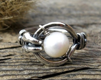 20% OFF TODAY - Free Floating Kinetic Pearl Ring .. 8mm freshwater pearl sterling gemstone ring statement ring