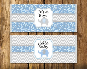 Printable Blue Elephant Boy Baby Shower Large Candy Bar Wrappers - Instant Download