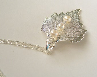 Silver Coated Real Birch Leaf with Pearls